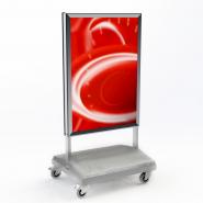 Skiltestander, plakatmål 700 x 1000 mm, med hjulstander